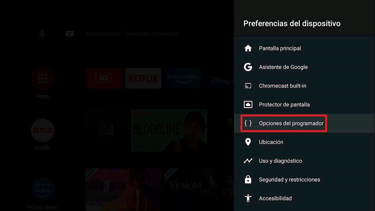Opciones del programador Android TV