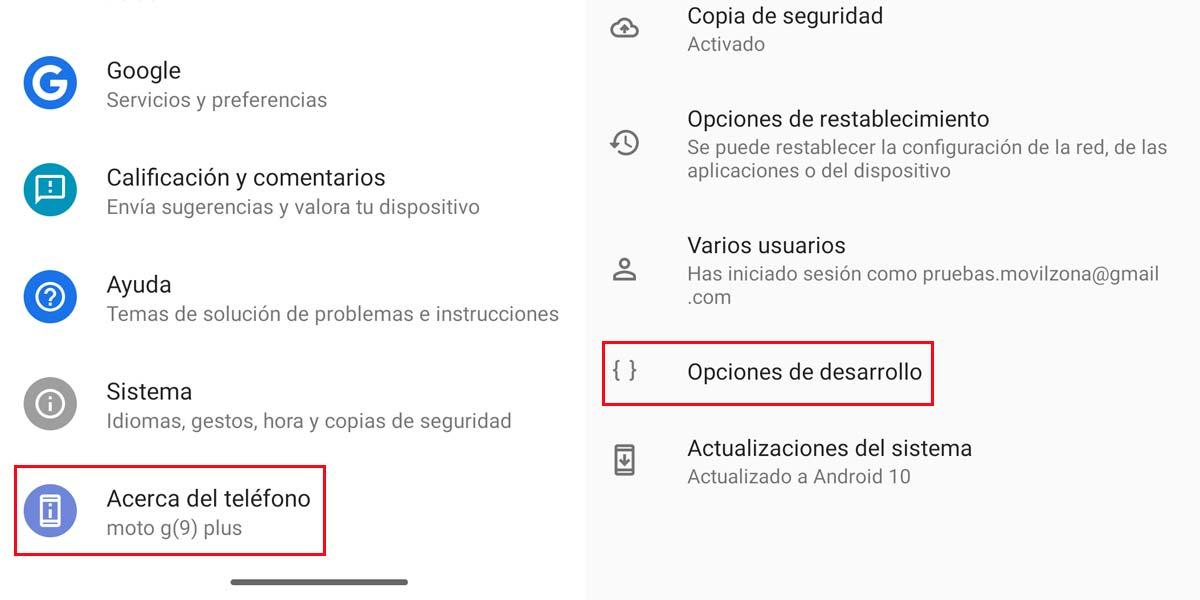 Acceder a opciones de desarrollador en Android 10