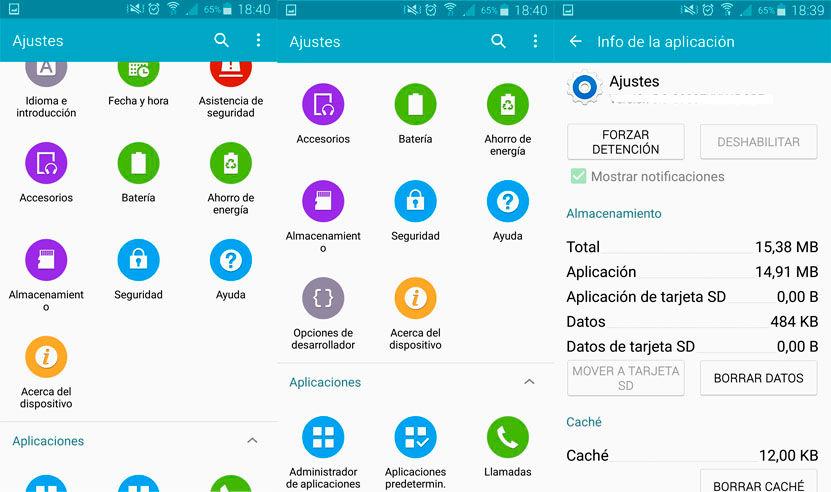 Opciones desarrollo Galaxy S6