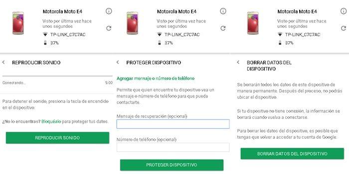 Opciones disponibles luego de localizar dispositivo Android