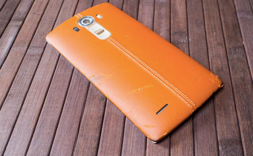 Opinión trasera en cuero en LG G4