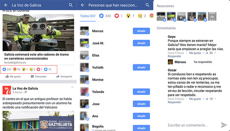Opinion reacciones de Facebook