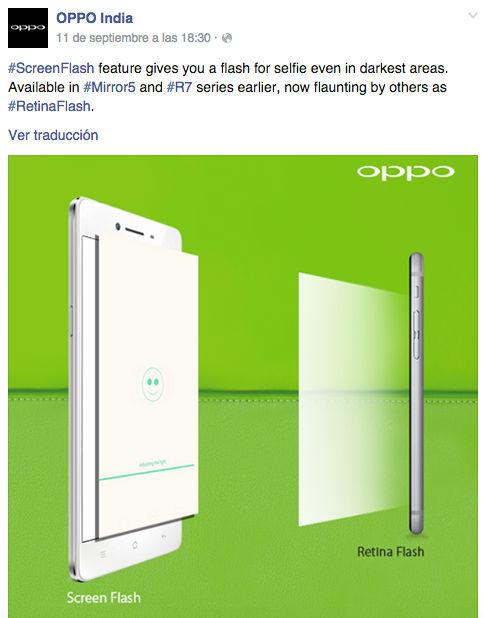 Oppo lanzó el flash en la pantalla antes que Apple