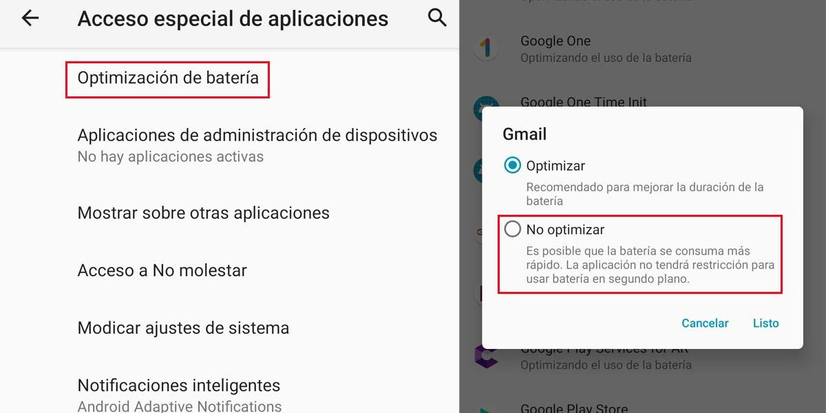No optimizar batería en alguna aplicación