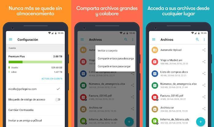 PCloud almacenamiento en la nube Android