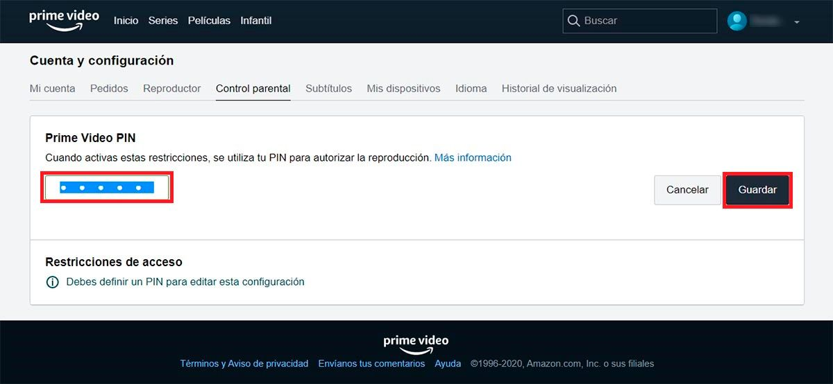 PIN Control parental Amazon Prime Video PC