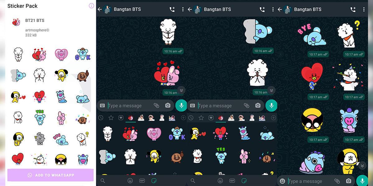 Pack de stickers adorables de BTS y BT21 para descargar y usar en WhatsApp
