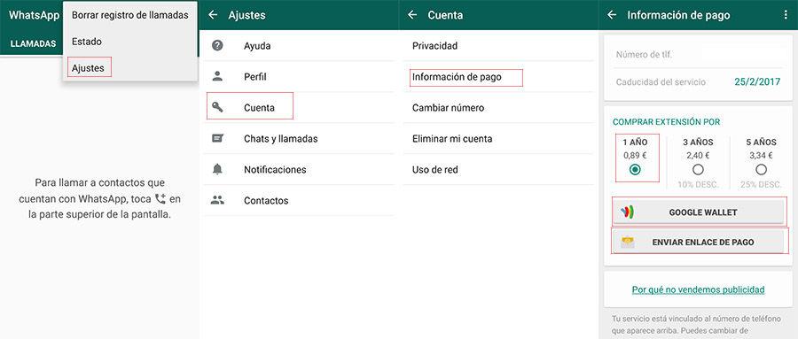 Pagar WhatsApp Android