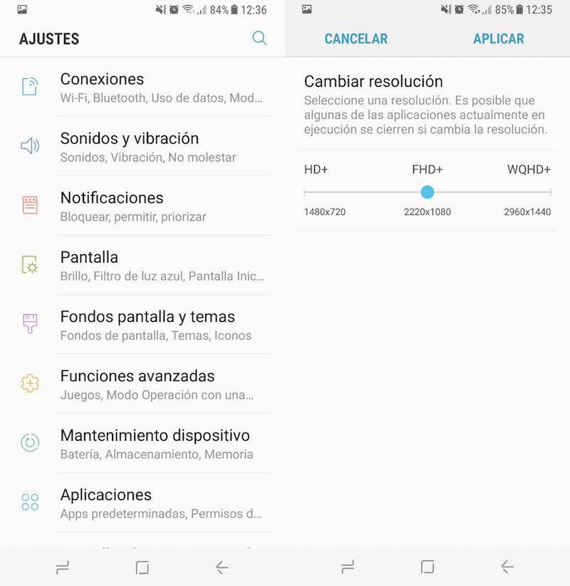 Pantalla FullHD Galaxy S8