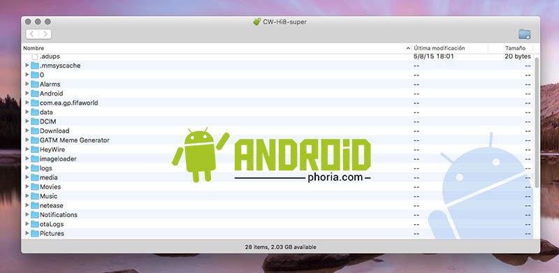 Pasar archivos de OS X a Android