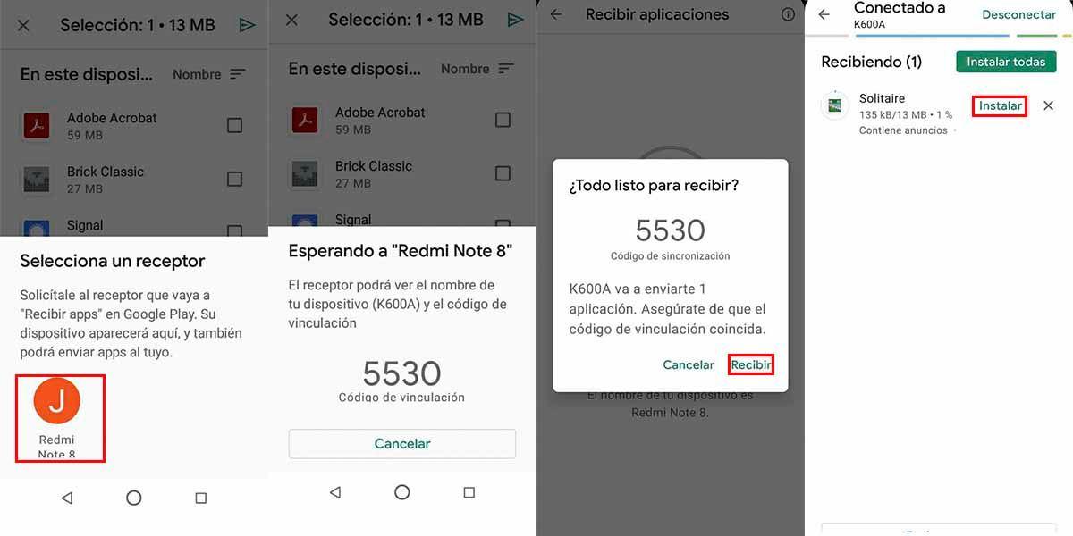 Paso final para compartir las apps con Google Play