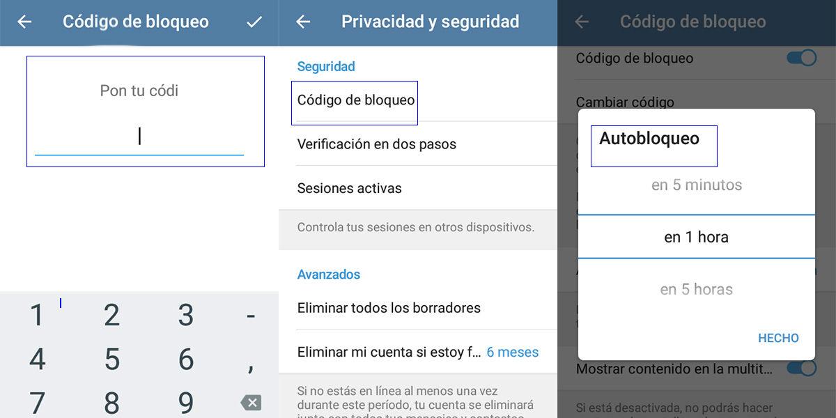 Pasos para bloquear telegram