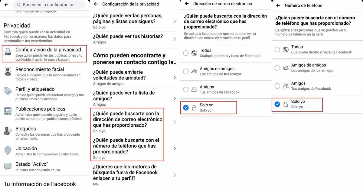 Pasos para ocultar número de móvil y correo electrónico en Facebook