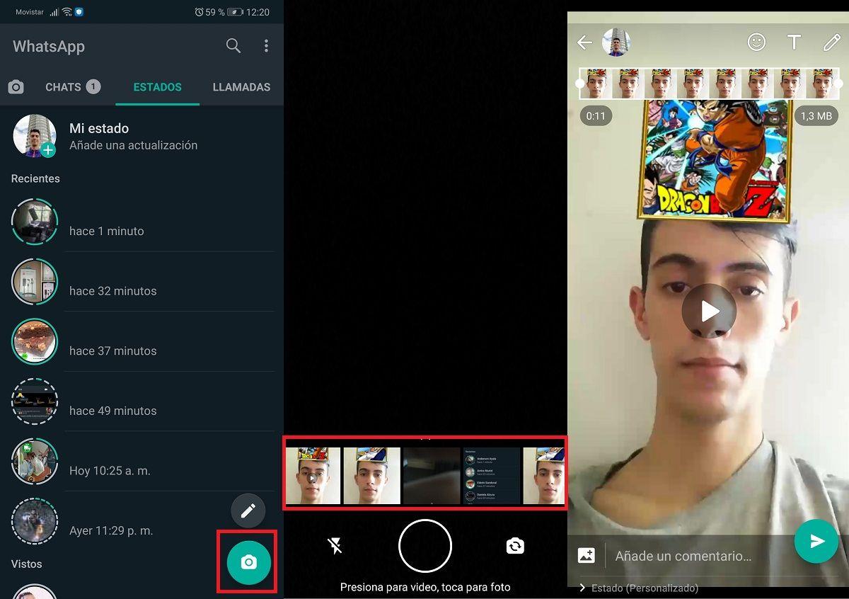 Pasos para usar los filtros de Instagram en WhatsApp (2)
