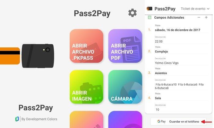 Pass2Pay abrir guardar pkpass android