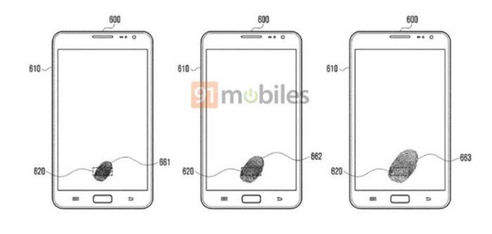Patente huella pantalla Galaxy S9