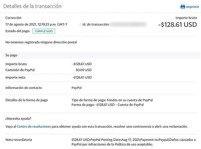 PayPal toma dinero por infracciones en la Politica de uso