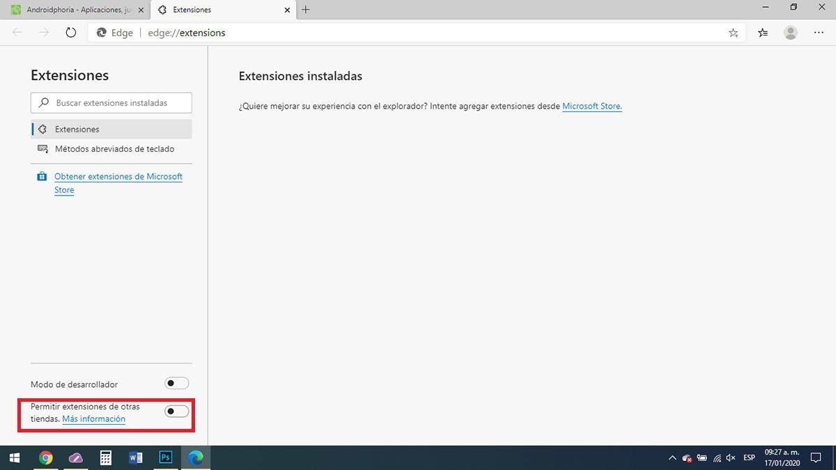 Permitir extensiones de otras tiendas Microsoft Edge
