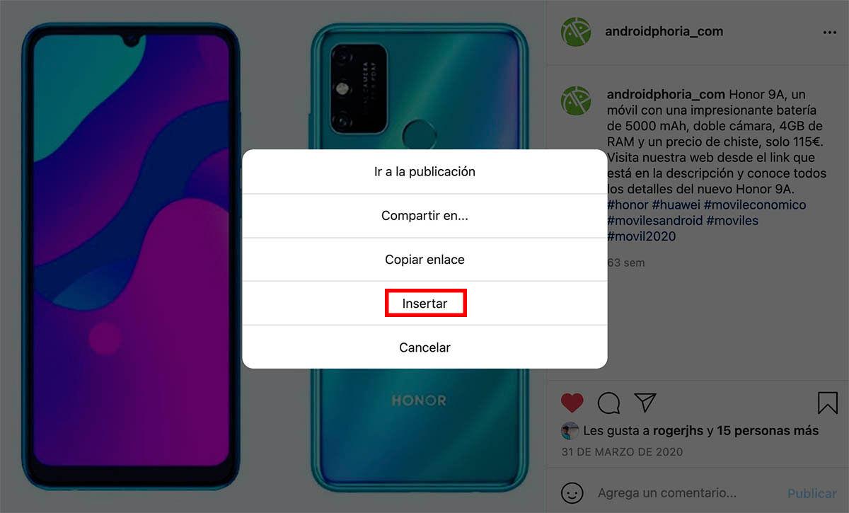 Pincha opción Insertar Instagram