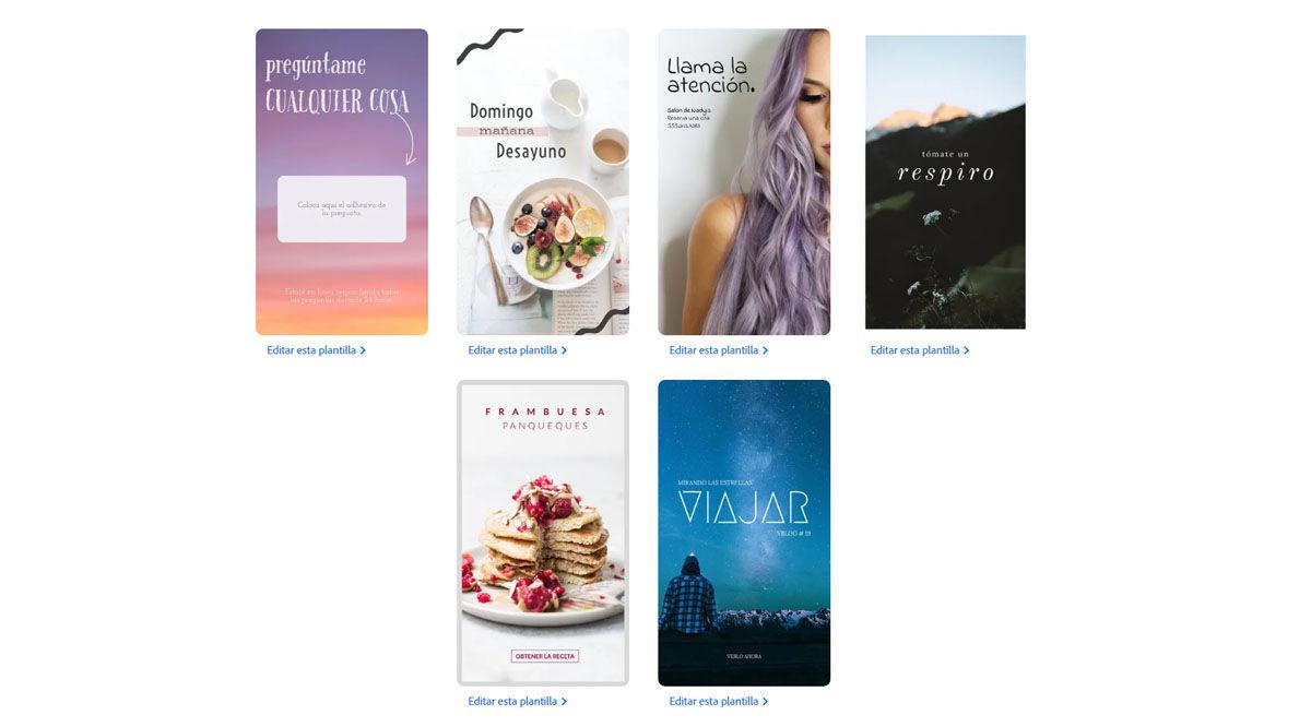 Plantillas editables y descargables para tus historias de Instagram en Adobe Spark