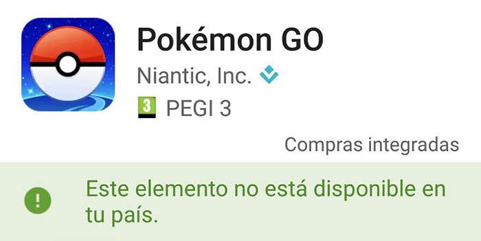 Pokemon Go no disponible pais