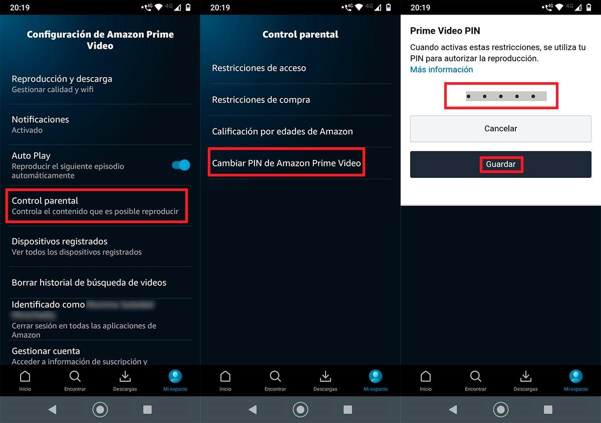 Poner PIN en Amazon Prime Video Android