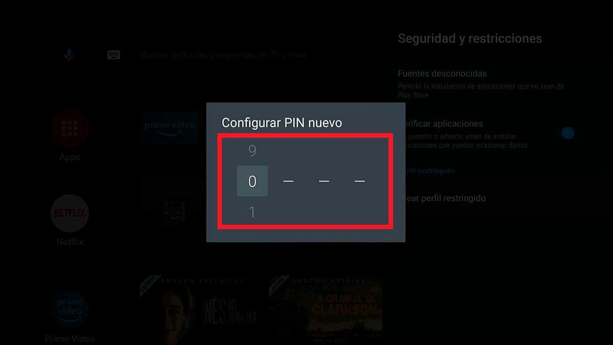Poner pin de seguridad Android TV