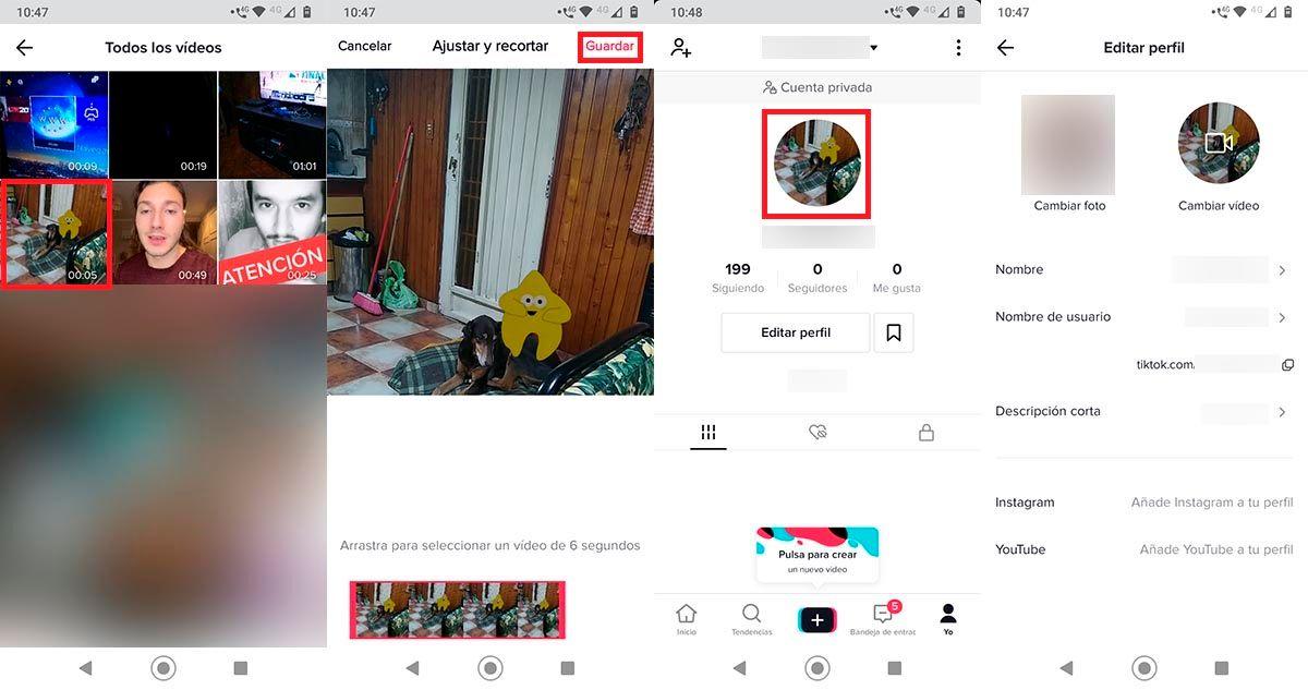 Poner video como foto de perfil en TikTok