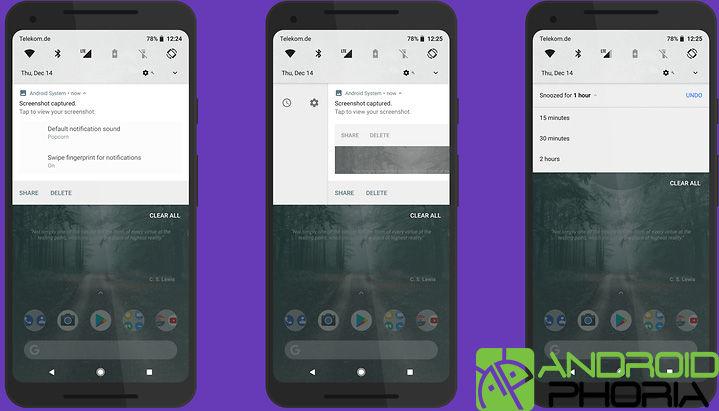 Posponer notifiaciones en Android Oreo
