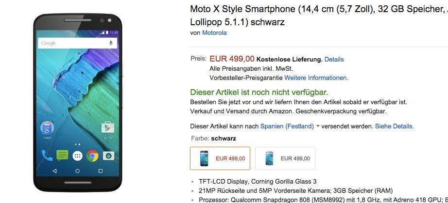 Precio del Moto X Style en Europa