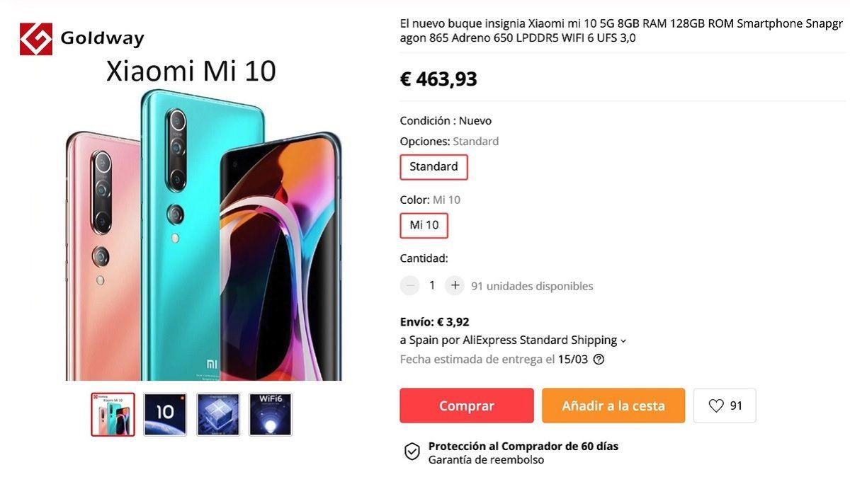 Precio oficial del Xiaomi Mi 10 desde las tiendas online de China