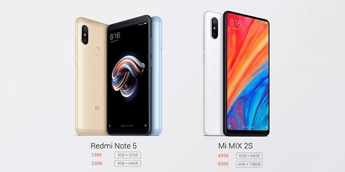 Precio oficial Redmi Note 5 Mi Mix 2S espana