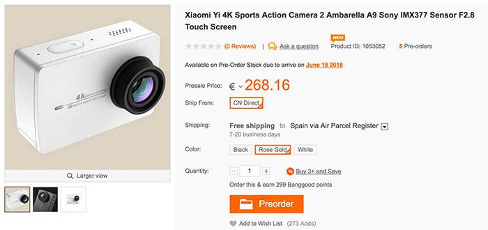 Precomprar Xiaomi Yi 4K Banggood