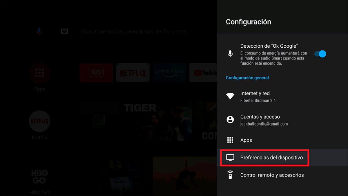 Preferencias del dispositivo Android TV