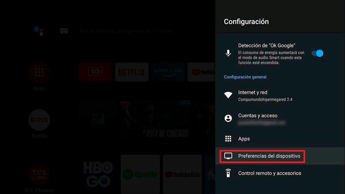 Preferencias del dispositivo de Android TV