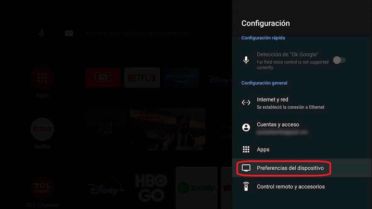 Preferencias del dispositivo en Android T