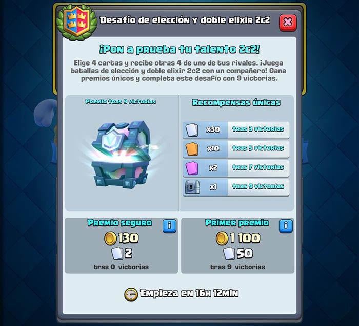 Premios desafio 2c2 eleccion Clash Royale