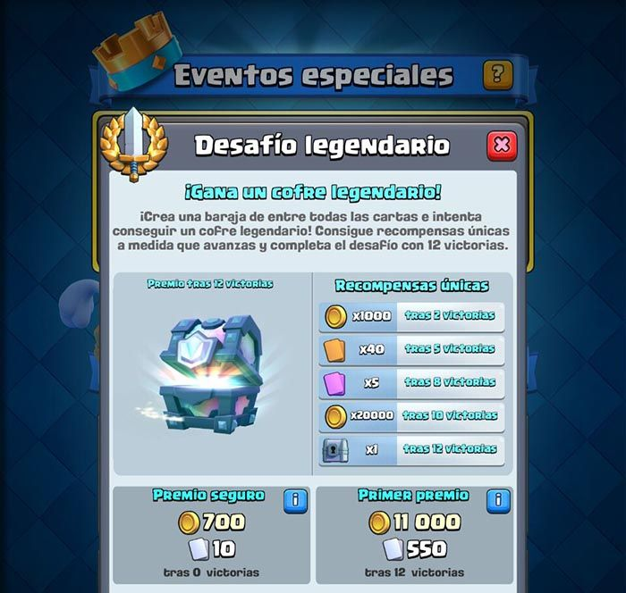 Premios desafio legendario Clash Royale