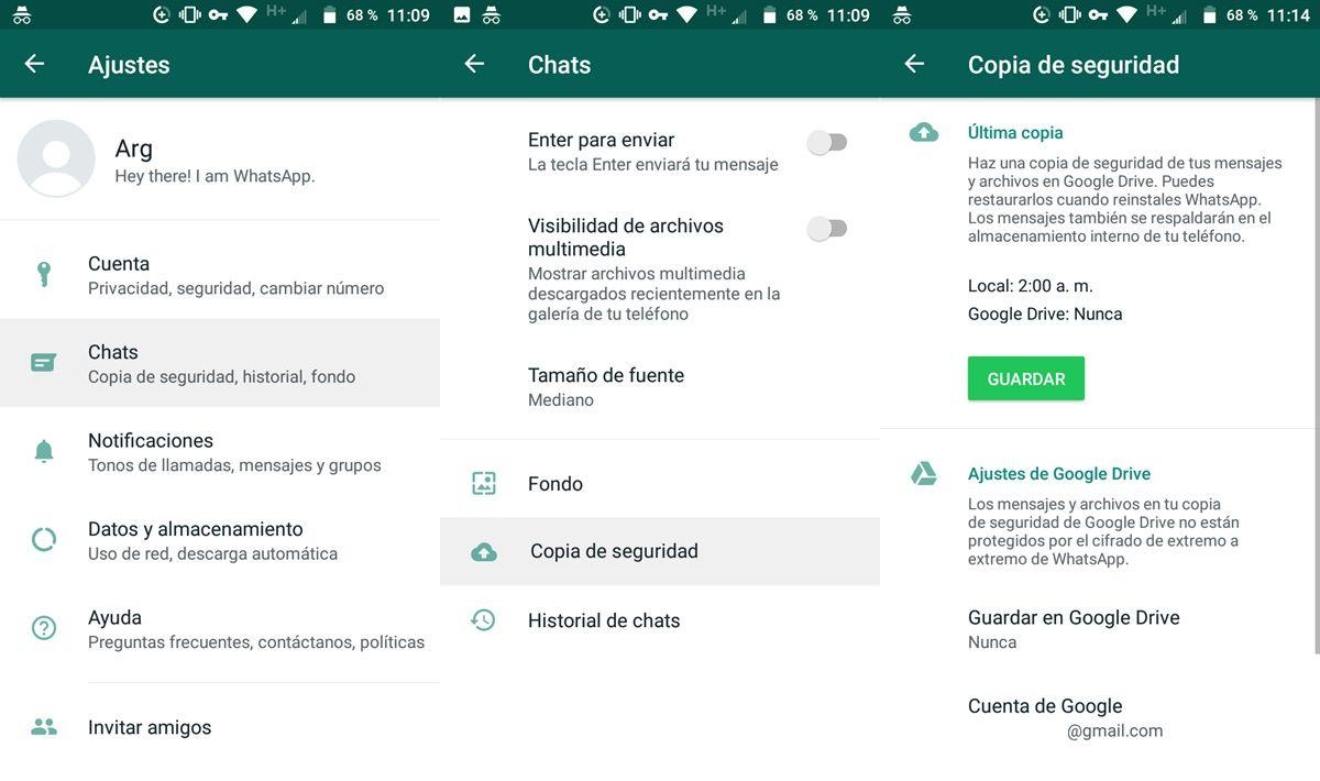 Primer paso configurar copia de seguridad whatsapp