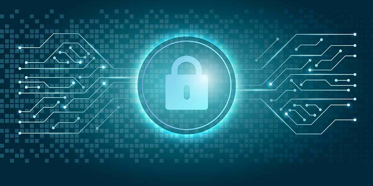 Logo de privacidad con fondo azul