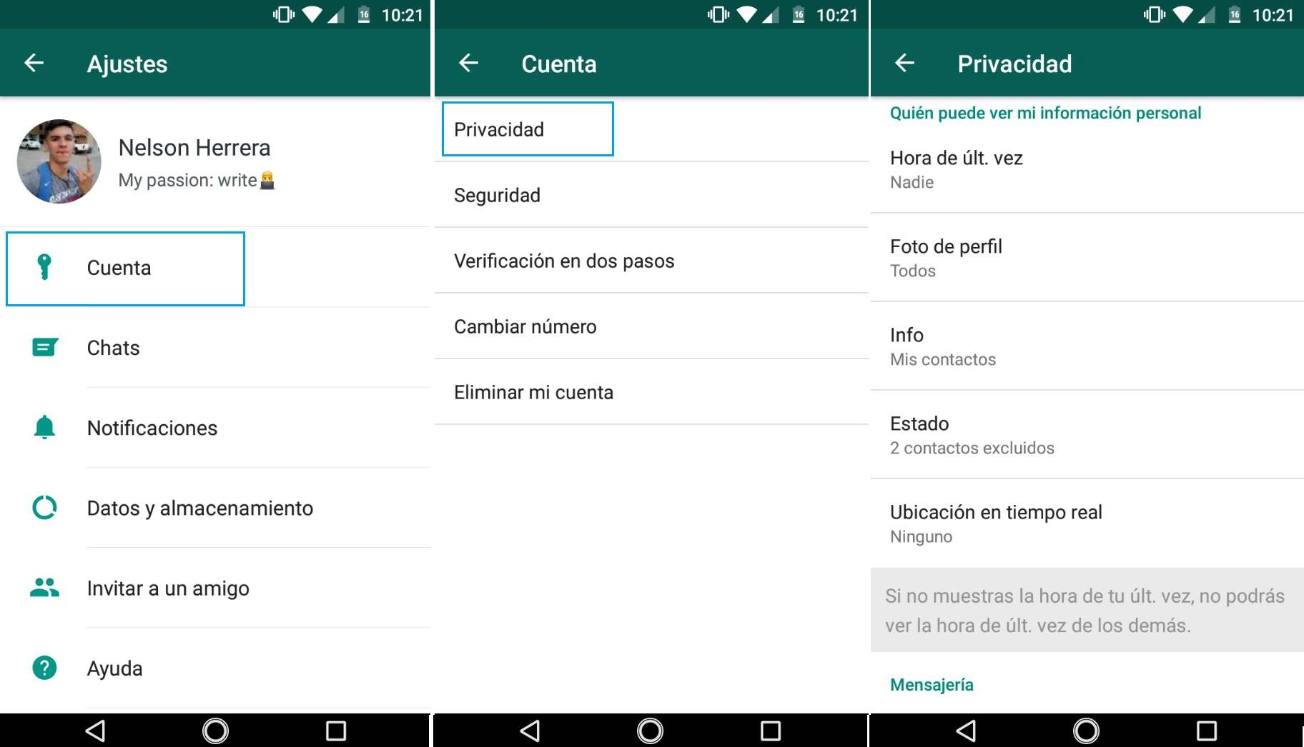 Privacidad dentro de WhatsApp