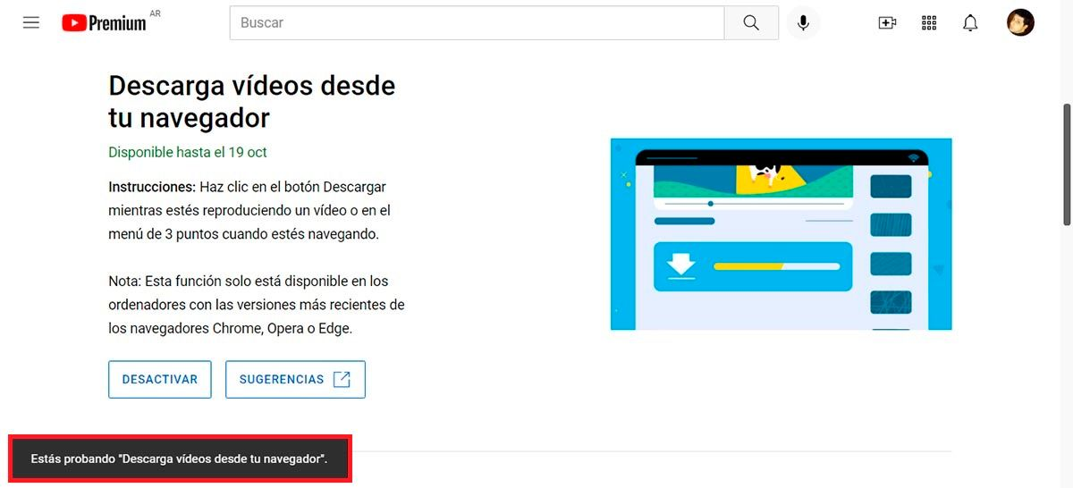 Probar Descargando videos desde tu navegador en YouTube