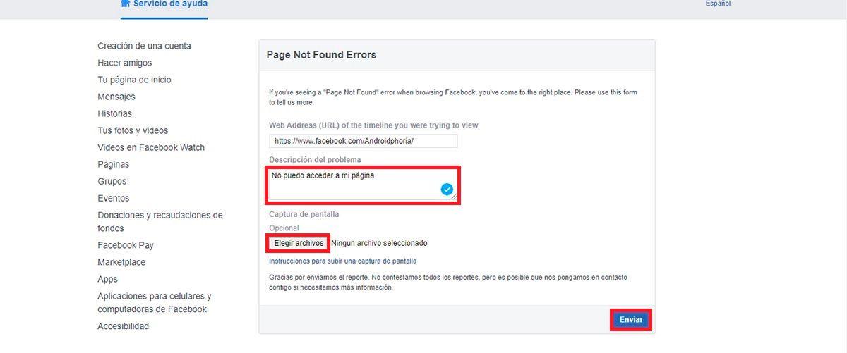 Problema con pagina Facebook contacto