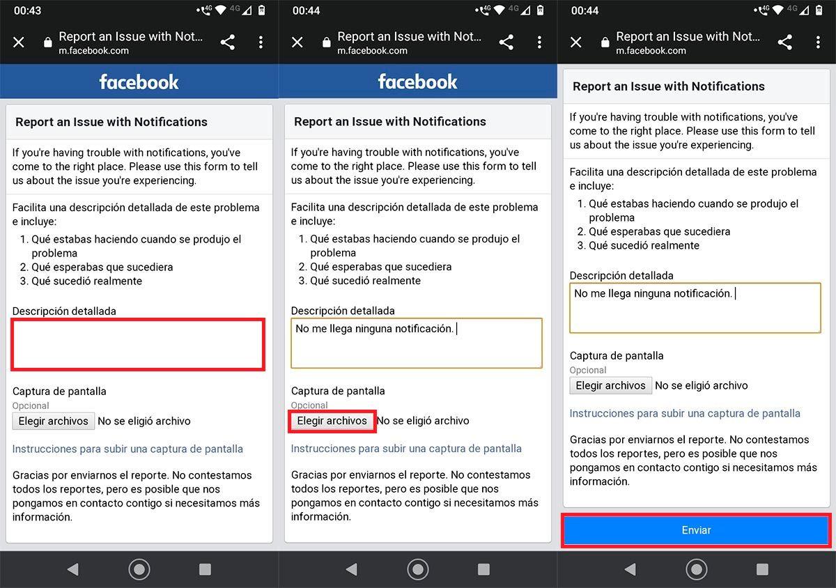 Problemas con notificaciones Facebook