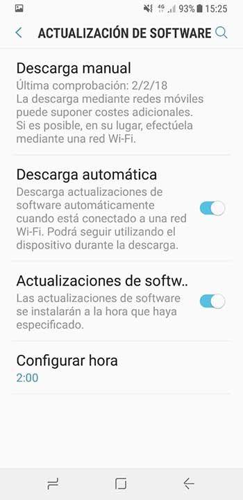 Programar actualizacion software Galaxy S8