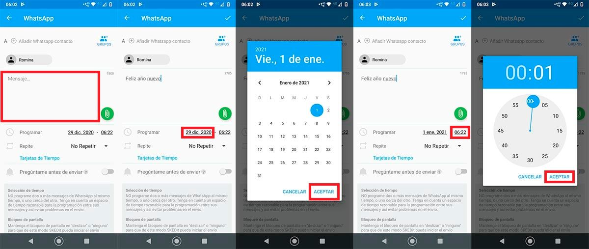 Programar mensaje WhatsApp