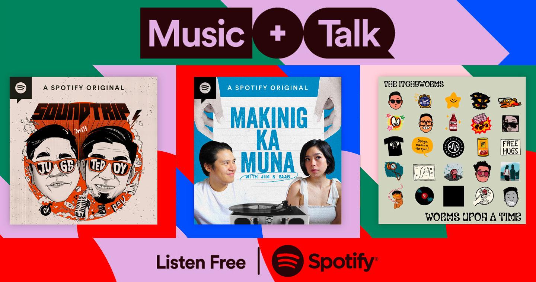Programas de charla y música con partes habladas y canciones en medio como si fuera la radio tradicional en Spotify Music + Talk