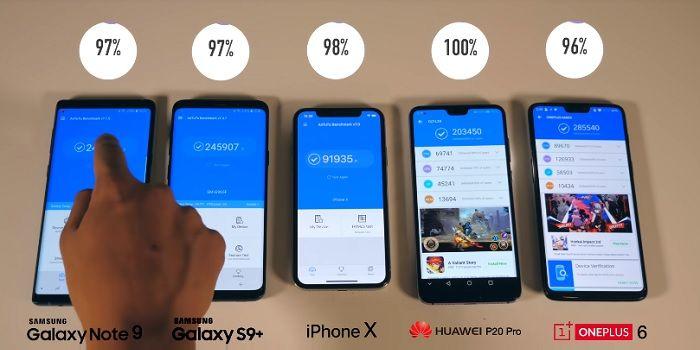 Prueba batería Galaxy Note 9 vs rivales directos