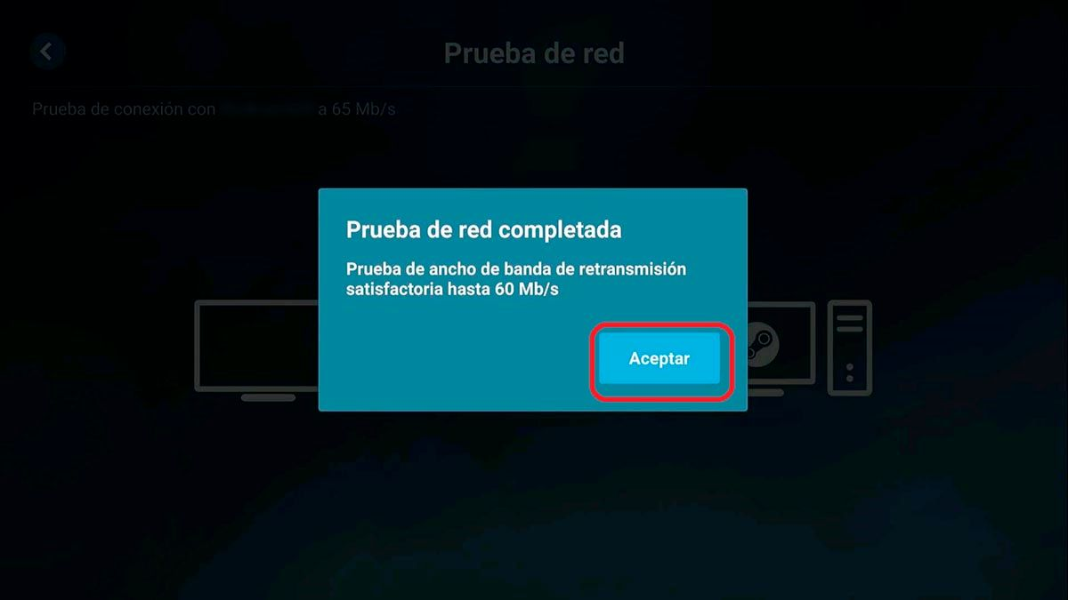 Prueba de conexion Steam Link PC Android TV