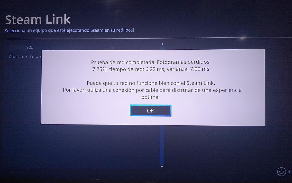 Prueba de conexion Steam Link Samsung